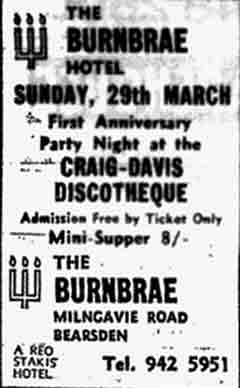Advert for the Burnbrae Hotel 1970