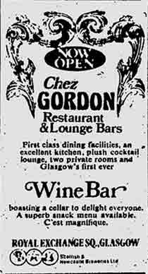 Chez Gordon 1974 advert