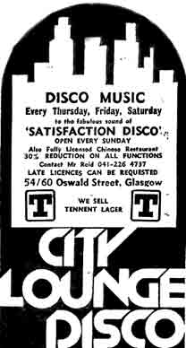 City Lounge Disco  advert 1979
