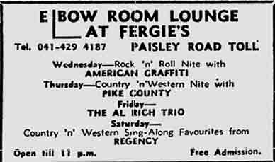 Fergie's Elbow Room advert 1977