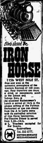Advert for the Iron Horse 1970