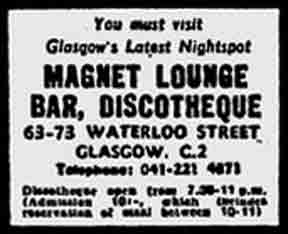 Magnet Lounge advert 1970