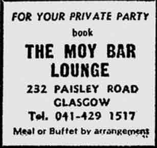 The Moy Bar Paisley Road advert 1975