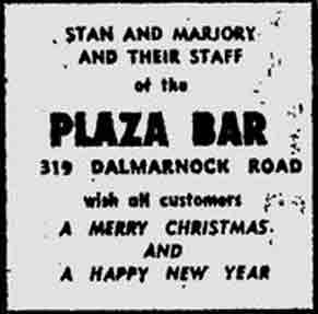 Plaza Bar Dalmarnock Road advert 1974