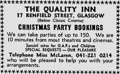 The Quality Inn 17 Renfield Street advert 1977