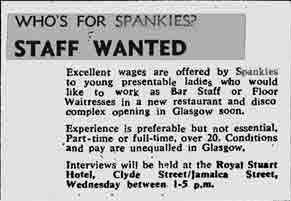 Spankies staff wanted 1974