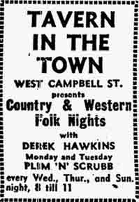 Tavern in Town, West Campbell Street advert 1979