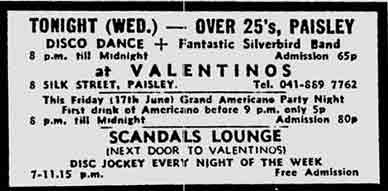 Advert for Valentino's 8 Silk Street Paisley 1977