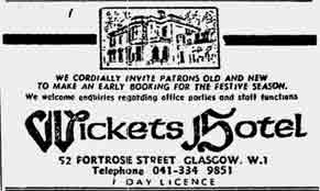 Wickets Hotel advert 1975