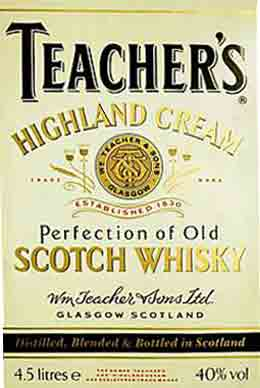 Teachers whisky label
